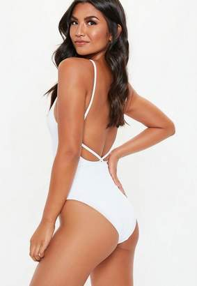 Missguided White Ribbed Strappy Plunge Front Swimsuit