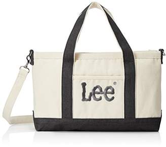 Lee (リー) - [リー] トートバッグ 2WAY ショルダー 厚手コットンキャンバス(帆布) Leeビッグロゴ刺繍 ホワイトボディ×ブラック