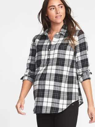 Old Navy Maternity Plaid Twill Classic Shirt