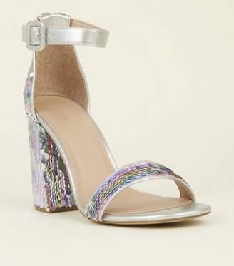 New Look Rainbow Pastel Sequin Block Heel Sandals