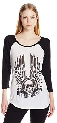 Metal Mulisha Junior's All Night Raglan Graphic Tee