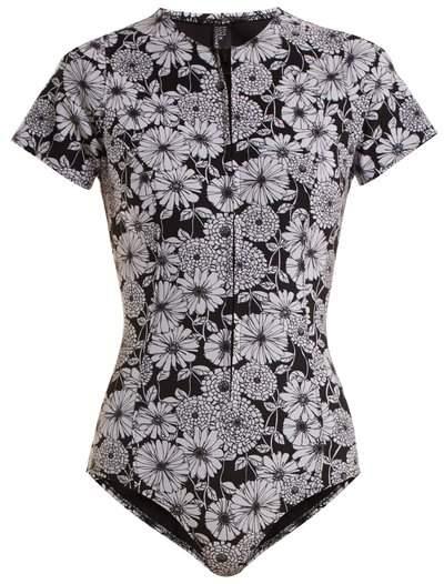 Lisa Marie Fernandez - Farrah Floral Print Bonded Swimsuit - Womens - Black White