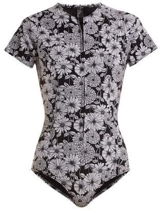 Lisa Marie Fernandez Farrah Floral Print Bonded Swimsuit - Womens - Black White