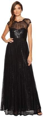 Adrianna Papell Long Sequin Gown with Chantilly Lace Overlay Women's Dress