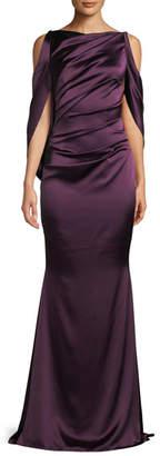 Talbot Runhof High-Neck Draped Bodice Shiny & Matte Crepe Satin Evening Gown