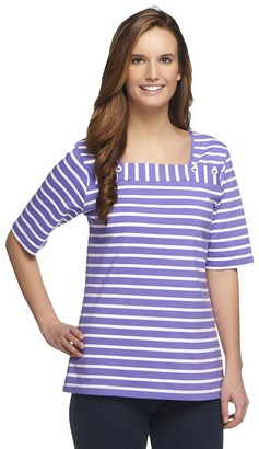 Denim & Co. Elbow Sleeve Striped Knit Top with Button Detail