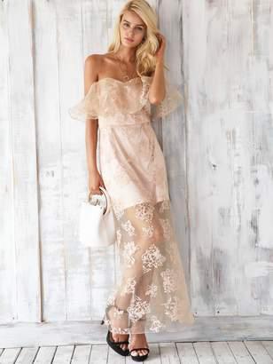 Shein Simplee Zip Back Off Shoulder Mesh Overlay Maxi Dress