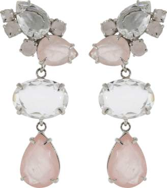 Bounkit JEWELRY Rose And Clear Quartz Earrings