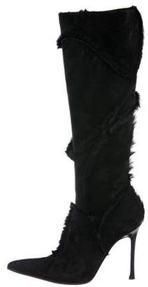 Cesare Paciotti By Midnight Suede Fur-Trimmed Boots