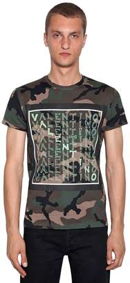 Valentino Logo Print Camouflage Cotton T-Shirt