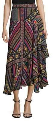 Etro Multi-Ribbon Silk Midi Skirt