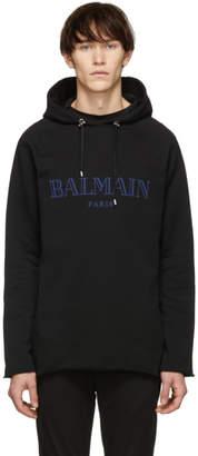 Balmain Black Raw Edge Logo Hoodie
