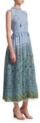 RED Valentino Garden of Metamorphosis Print Crepe de Chine Maxi Dress