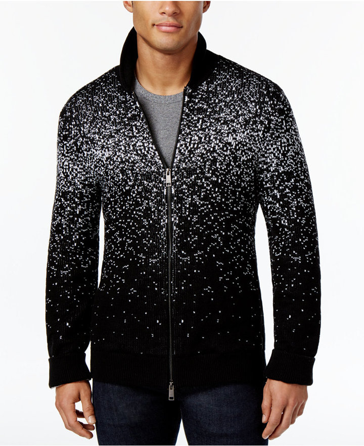 Armani Exchange  Armani Exchange Men's Black with White Knit Zip Cardigan