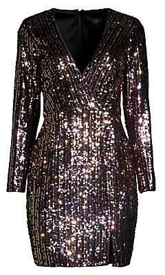 Aidan Mattox Women's Striped Sequin Long-Sleeve Sheath Dress - Size 0