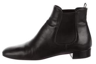 Prada Leather Square-Toe Ankle Boots