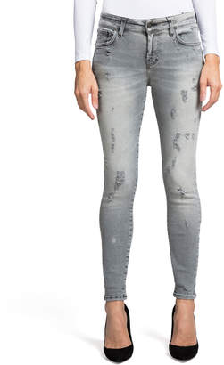 Super Stretch Mid-Rise Distressed Ankle Skinny Jeans