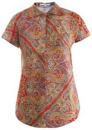 Carven Shantung-silk paisley-print blouse