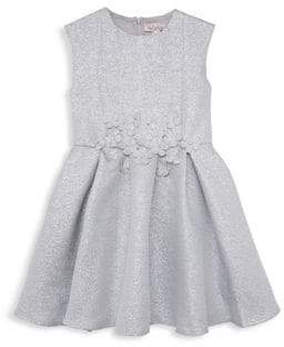 Halabaloo Little Girl's & Girl's Bouquet Glittered Fit-And-Flare Dress