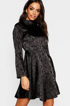 boohoo Jacquard Satin High Neck Skater Dress