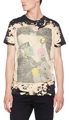 Religion Men's Sticker T-Shirt, (Washed Black), Medium