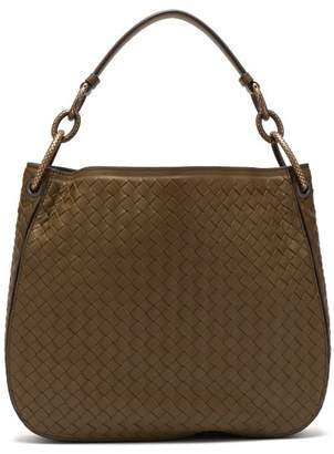 Bottega Veneta Loop Small Intrecciato Leather Shoulder Bag - Womens - Khaki
