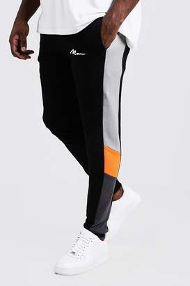 Big & Tall Colour Block MAN Branded Joggers