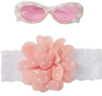 Little Me Light Pink Polka Dot Sunglasses & Headband - Set of 2 (Baby Girls)