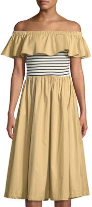 ENGLISH FACTORY Off-The-Shoulder Ruffled Midi Dress