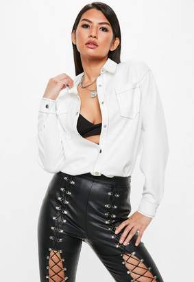 Missguided White Long Sleeve Contrast Stitch Shirt
