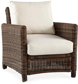 Del Ray Wicker Club Chair - Chestnut/Canvas - South Sea Rattan