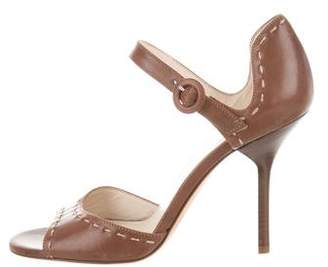 Frances Valentine Leather Ankle-Strap Sandals