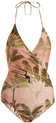 ADRIANA DEGREAS Ruched Toucan-print halterneck swimsuit