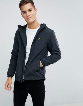 Lyle & Scott zip thu jacket with hood in black