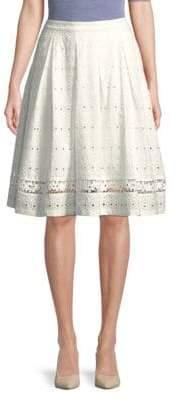 Eyelet Cotton Knee-Length Skirt