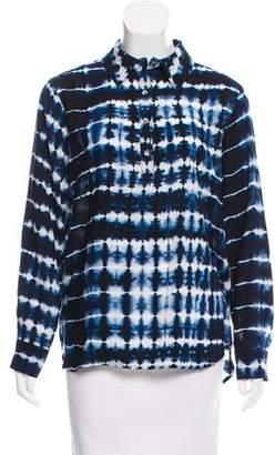 Neiman Marcus Printed Long Sleeve Blouse