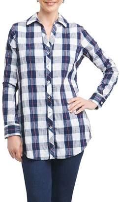Foxcroft Fay Crinkle Plaid Stretch Cotton Blend Tunic Shirt