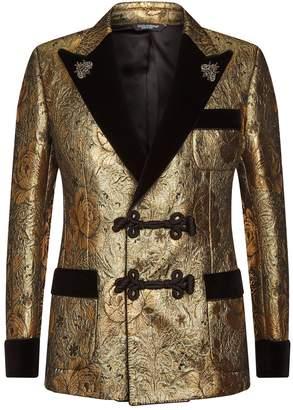 Dolce & Gabbana Velvet-Trim Floral Jacquard Blazer