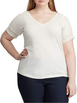Lauren Ralph Lauren Plus Lace-Trimmed Cotton Blend Top