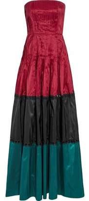 Sachin + Babi Delhi Strapless Pleated Color-Block Silk-Taffeta Gown