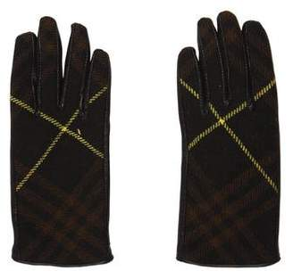 Burberry Leather Wool-Trimmed Gloves