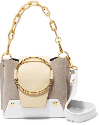 Yuzefi - Delila Mini Color-block Suede And Textured-leather Shoulder Bag - Taupe