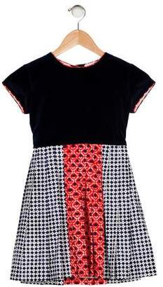 Oscar de la Renta Girls' Printed Velvet Dress
