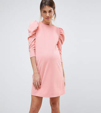Asos Crepe Mini Dress With Puff Sleeves