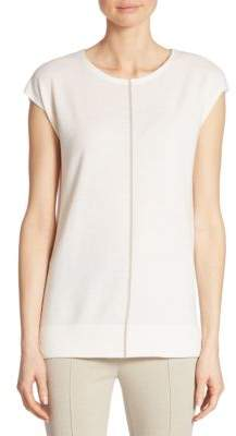 Akris Punto Canvas-Trimmed Wool Top