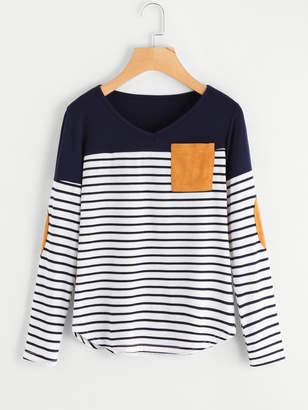Shein Striped Elbow Patch Curved Hem T-shirt