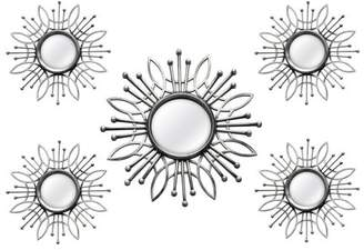 Stratton Home Décor Stratton Home Decor 5-Piece Silver Burst Wall Mirror