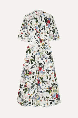Erdem Kaiya Floral-print Cotton-poplin Midi Dress - White