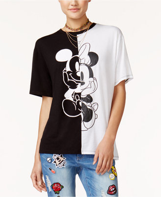 Disney Juniors' Mickey & Minnie Mouse Split Graphic T-Shirt $24 thestylecure.com