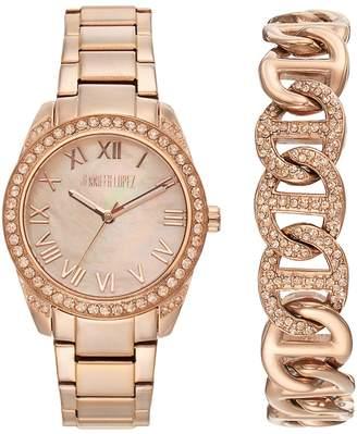 JLO by Jennifer Lopez Women's Crystal Stainless Steel Watch & Bracelet Set